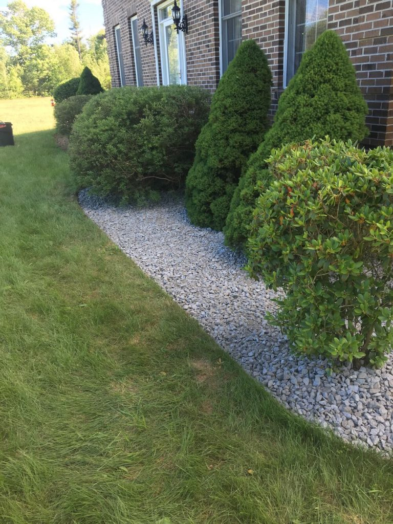 Crushed stone, hedge trim