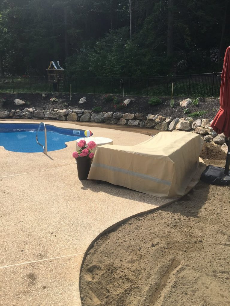 Pool view, grading of land, loam