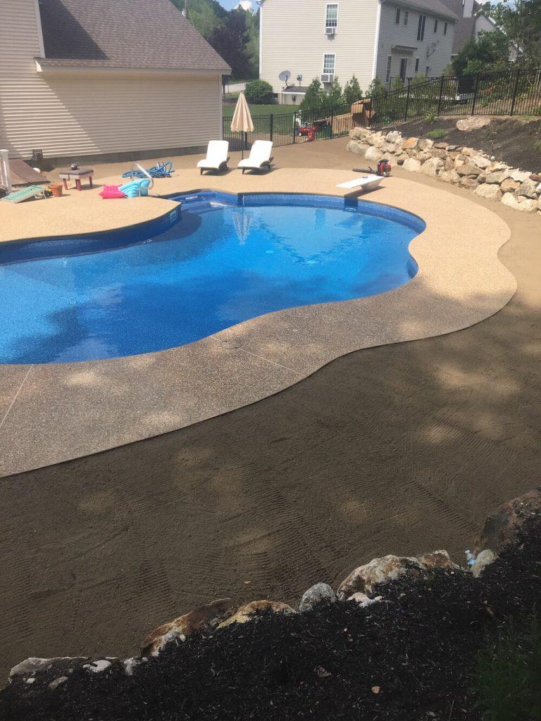 Grading loam around pool