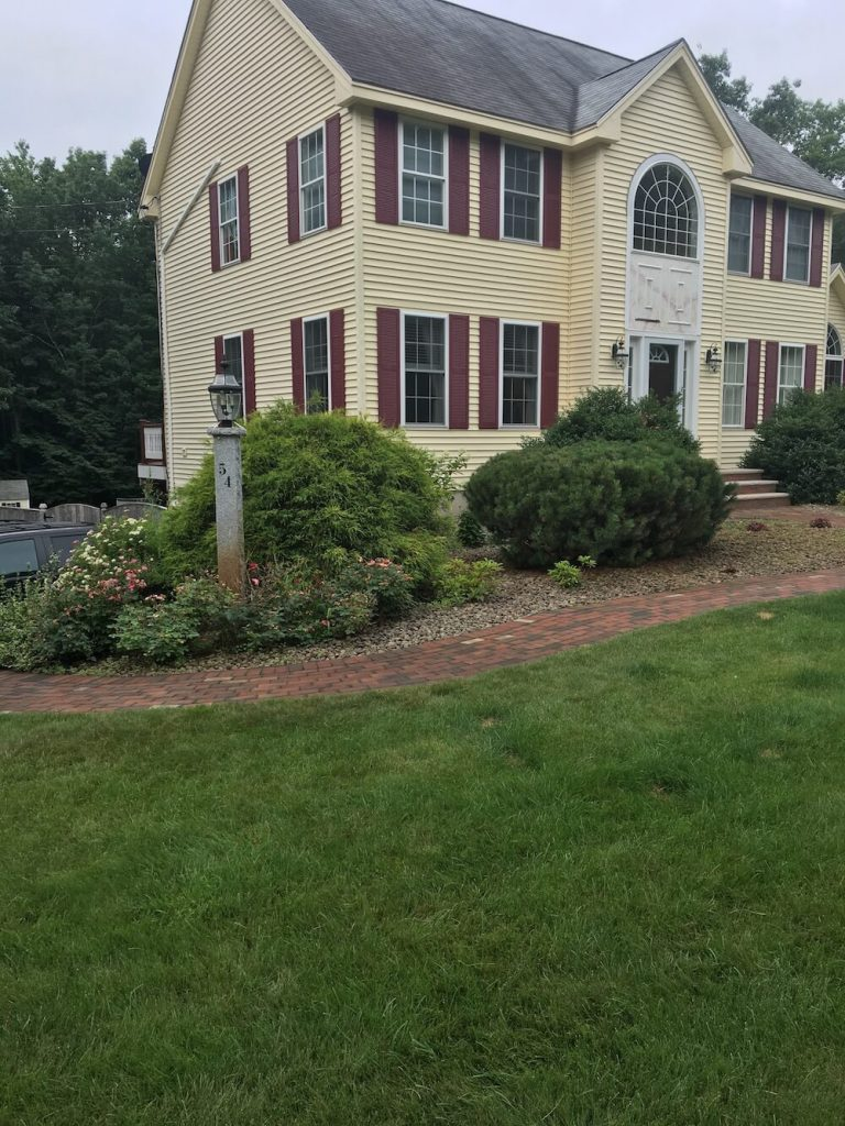 before front of house, yard