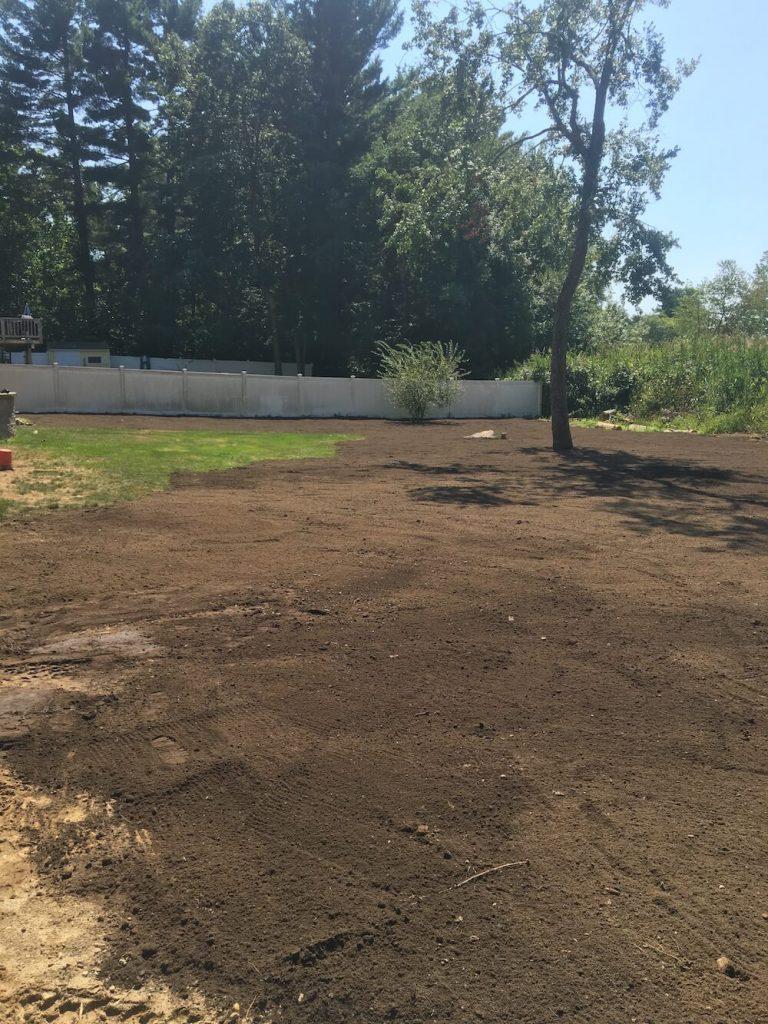 Lawn renovation, grading